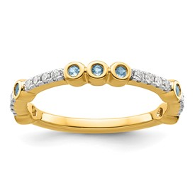 14k Stackable Expressions Aquamarine and Diamond Ring