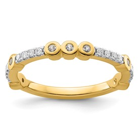14k Stackable Expressions White Topaz and Diamond Ring