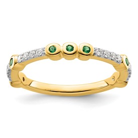 14k Stackable Expressions Created Emerald and Diamond Ring
