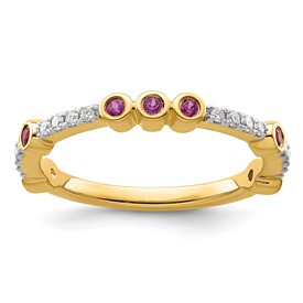 14k Stackable Expressions Rhodolite Garnet and Diamond Ring