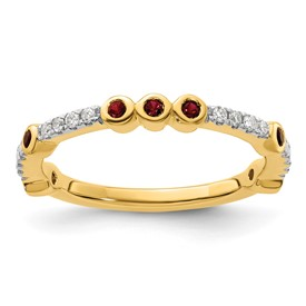 14k Stackable Expressions Created Ruby and Diamond Ring