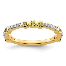14k Stackable Expressions Peridot and Diamond Ring