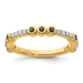 14k Stackable Expressions Created Sapphire and Diamond Ring