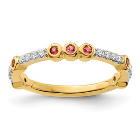 14k Stackable Expressions Pink Tourmaline and Diamond Ring