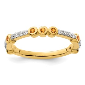 14k Stackable Expressions Citrine and Diamond Ring