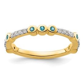 14k Stackable Expressions Blue Topaz and Diamond Ring