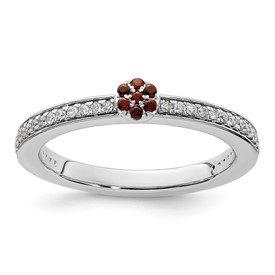 14K White Gold Stackable Expression Garnet and Diamond Ring