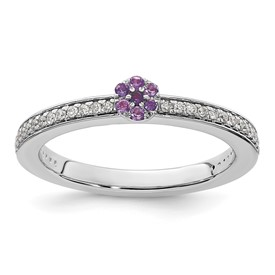14K White Gold Stackable Expression Amethyst and Diamond Ring