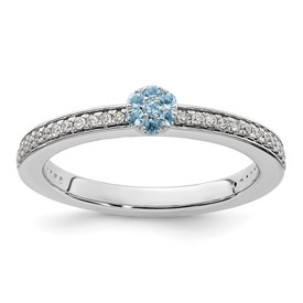14K White Gold Stackable Expression Aquamarine and Diamond Ring