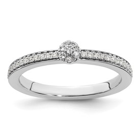 14K White Gold Stackable Expression White Topaz and Diamond Ring