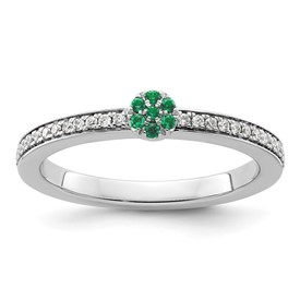 14K White Gold Stackable Expression Created Emerald and Diamond Ring
