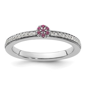 14K White Gold Stackable Expression Rhodolite Garnet and Dia. Ring