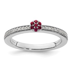 14K White Gold Stackable Expression Created Ruby and Diamond Ring