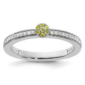14K White Gold Stackable Expression Peridot and Diamond Ring
