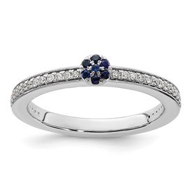 14K White Gold Stackable Expressions Created Sapphire and Dia. Ring