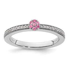 14K White Gold Stackable Expressions Pink Tourmaline and Dia. Ring