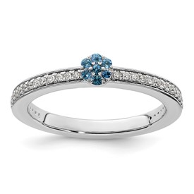 14K White Gold Stackable Expression Blue Topaz and Diamond Ring