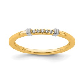 14K Two-Tone Stackable Expression Diamond Rings
