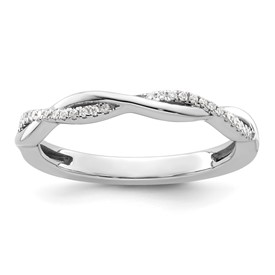 14k White Gold Stackable Expressions Diamond Twist Ring