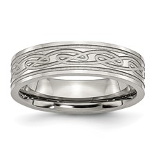 Chisel Stainless Steel Celtic Knot 6mm Satin and Polished Band