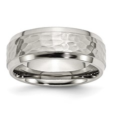 Chisel Stainless Steel 8mm Hammered and Polished Band