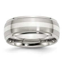 Chisel Stainless Steel Sterling Silver Inlay 8mm Ridged Edge Band