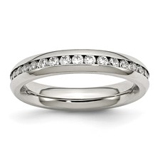 Chisel Stainless Steel 4mm April Clear CZ Ring