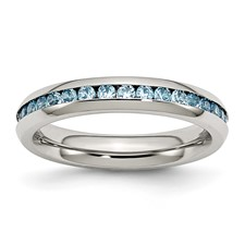 Chisel Stainless Steel 4mm December Teal CZ Ring
