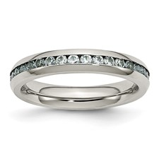 Chisel Stainless Steel 4mm March Light Blue CZ Ring