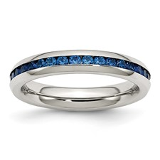 Chisel Stainless Steel 4mm September Blue CZ Ring