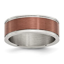 Chisel Stainless Steel 8mm Chocolate-plated Brushed and Polished Band