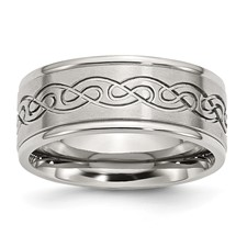 Chisel Stainless Steel 9mm Brushed and Polished Design Band