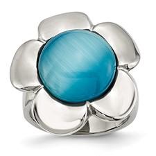 Chisel Stainless Steel Blue Agate Flower Ring