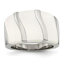 Chisel Stainless Steel White Enamel Ring