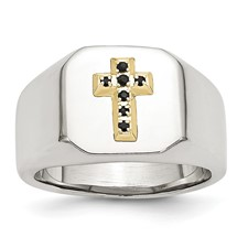 Chisel Stainless Steel 14k Sapphire Cross Ring