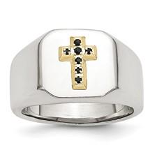 Chisel Stainless Steel 14k Sapphire Cross Ring