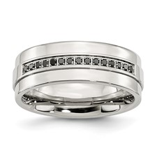 Chisel Stainless Steel Polished Black Diamond Ring