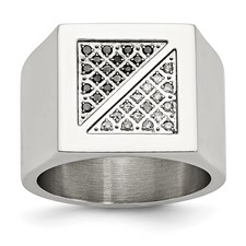 Chisel Stainless Steel Black and White Diamond Ring