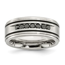 Chisel Stainless Steel Black-plated Black Diamond Ring
