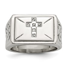 Chisel Stainless Steel Diamond Cross Ring