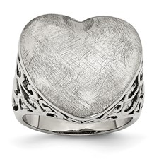 Chisel Stainless Steel Matte Heart Ring