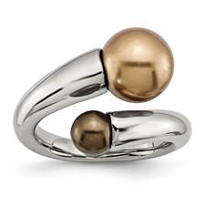 Chisel Stainless Steel Champagne and Brown Simulated Pearl Ring