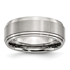 Chisel Stainless Steel 8mm Brushed and Polished Band