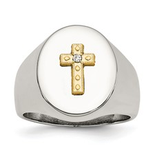 Chisel Stainless Steel .02 ct Diamond Polished Ring with 10K Gold Cross