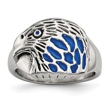 Chisel Stainless Steel Polished Blue Enamel Eagle Ring