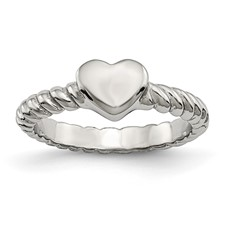 Chisel Stainless Steel Polished Twisted Heart Ring