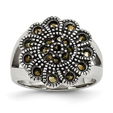 Chisel Stainless Steel Textured Flower Ring with Crystals