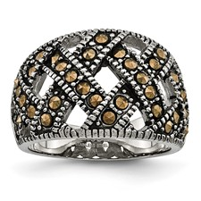 Chisel Stainless Steel Textured Ring with Crystals