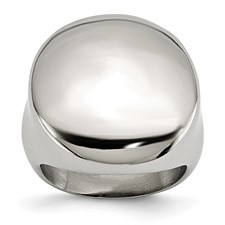 Chisel Stainless Steel Polished Circular Signet Ring