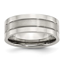 Chisel Stainless Steel Flat 8mm Brushed and Polished Band